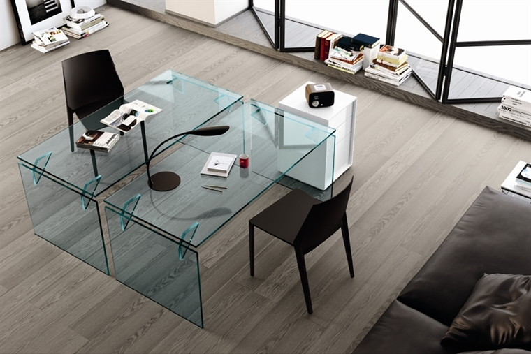 GLASS OFFICE TABLES BRIGHT - DESIGNER VALERIO COMETTI